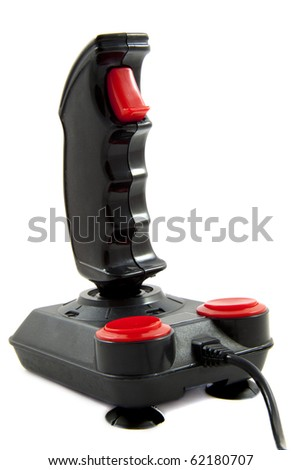 Black and red joystick isolated over white - stock photo