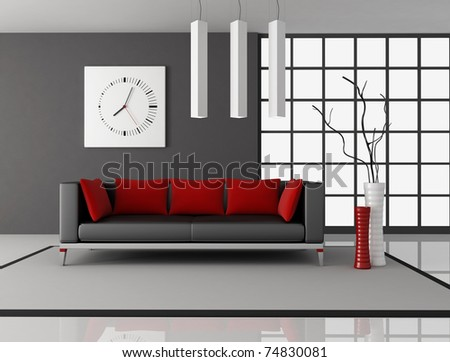 black and red living room with leather couch witth pillow - rendering - stock photo