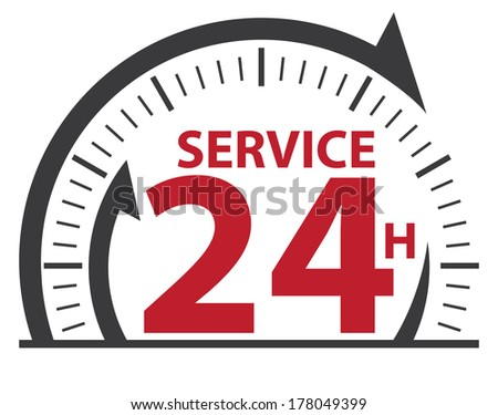 Black and Red Service 24H Icon, Badge, Label or Sticker for Customer Service, Support or CRM Concept Isolated on White Background  - stock photo