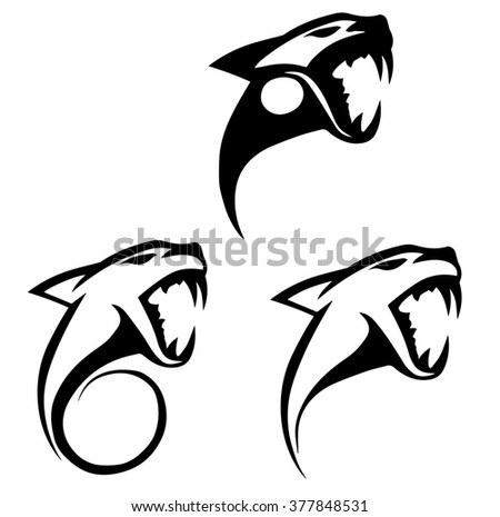 black and red silhouette of a wild cat , jaguar , tiger that roars for your design or logo - stock photo