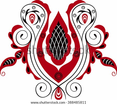Black and red stylized hungarian folk motif