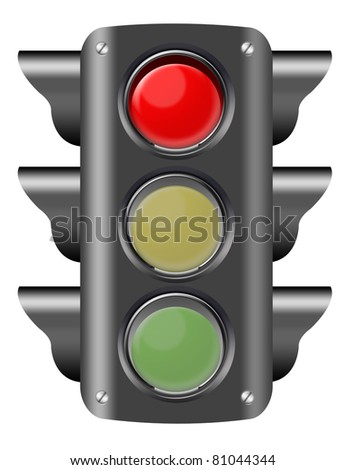 black and red traffic light isolated ove white background. illustration