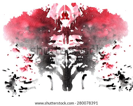 black and red watercolor symmetrical Rorschach blot on a white background - stock photo
