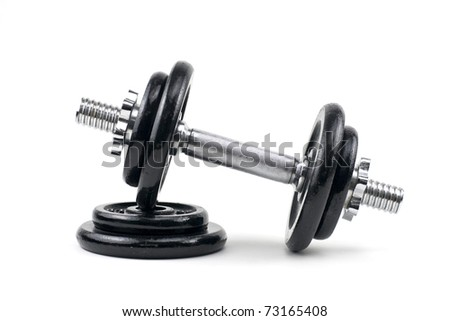 Black and silver dumbbells on a white background - stock photo