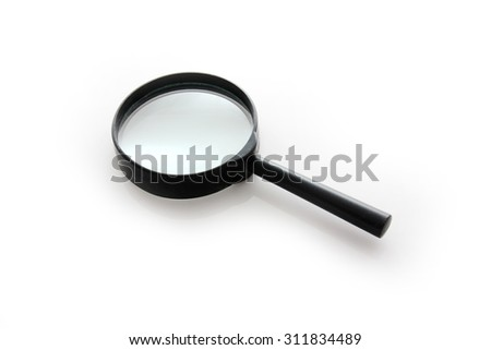 Black and Silver Magnifying Glass Isolated on a White Background