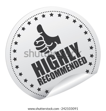Black and Silver Metallic Highly Recommended Sticker, Icon or Label Isolated on White Background  - stock photo