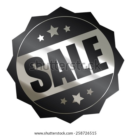 black and silver metallic sale sticker, badge, icon, stamp, label, banner, sign isolated on white  - stock photo