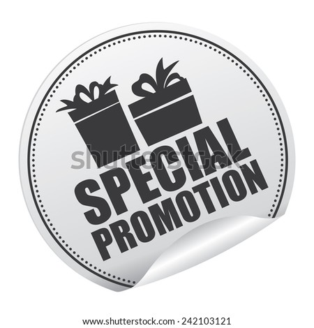 Black and Silver Metallic Special Promotion Sticker, Icon or Label Isolated on White Background  - stock photo