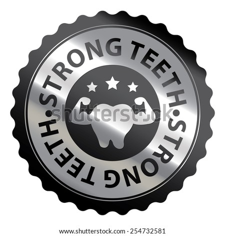 Black and Silver Metallic Strong Teeth Badge, Icon, Label, Sign or Sticker Isolated on White Background  - stock photo