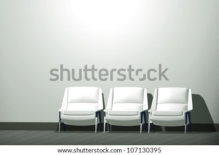 Black-and-silver modern chair on a gray wall - stock photo