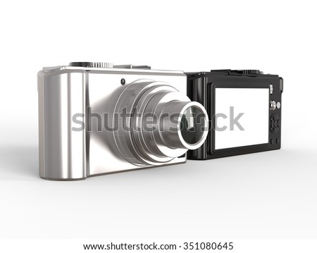 Black and silver modern compact digital photo camera - stock photo