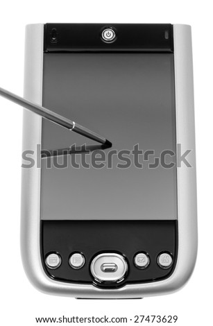 Black and Silver PDA with Stylus. Focus at the tip of the tip. Isolated on white. - stock photo