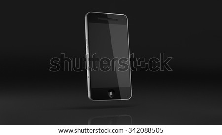 Black and silver smart phone on dark background.