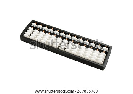black and white abacus on white background - stock photo