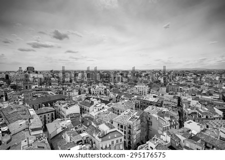 Black and white above view of Valencia, Spain - stock photo