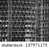black and white abstract construction building detail - stock photo