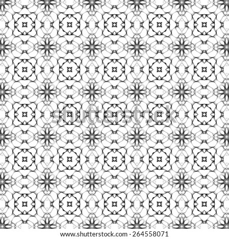 black and white Abstract decoration, retro floral and geometric ornament, lace pattern - stock photo