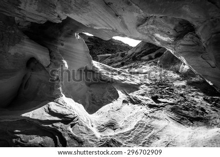 Black and White Abstract Rock Formations Valley of Fire Overton Nevada,  - stock photo