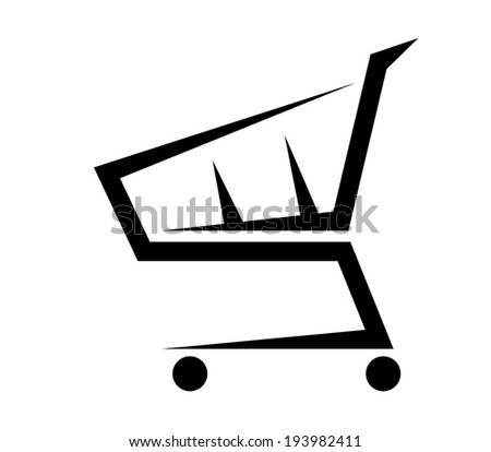 Black and white abstract shopping cart logo, isolated on white background. Vector version also available in gallery - stock photo
