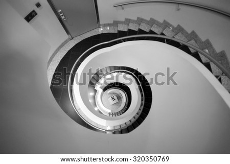 Black and white abstract spiral staircase