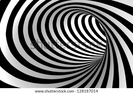 Black and white abstract tunnel