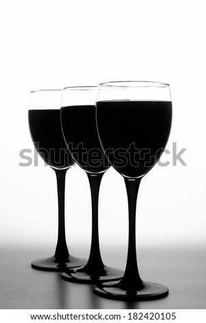 Black and white abstract wine glassware background design.