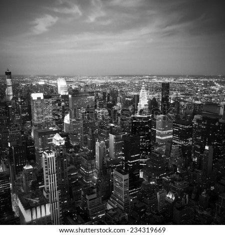 Black and white aerial image of the NYC skyline - stock photo
