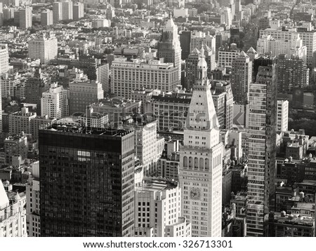 Black and white aerial view of skyscrapers at midtown New York City