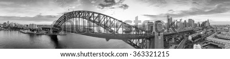 Black and white aerial view of Sydney. 360 degrees panoramic. - stock photo