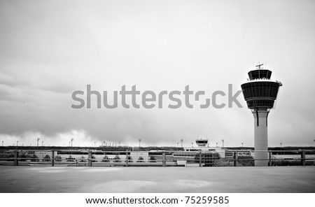 black and white airport tower in munich germany - stock photo
