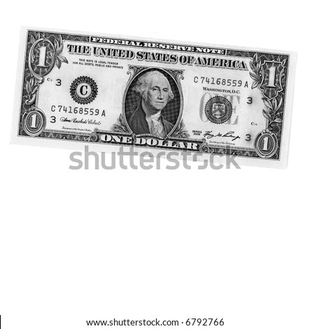 Black and White American Dollar Bill isolated on white background