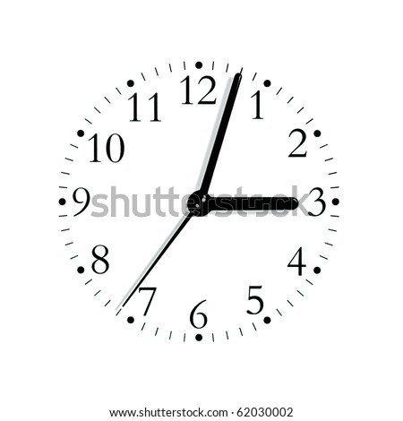 Black and white analogue clock face dial reading 3:03, isolated - stock photo