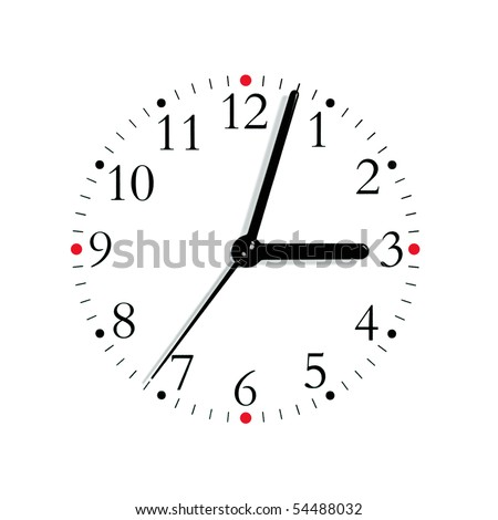 Black and white analogue clock face dial reading 3:03 PM, isolated macro - stock photo