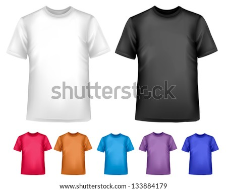 Black and white and color men polo t-shirts. Design template. Raster version of vector