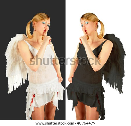 black and white angels collage - stock photo