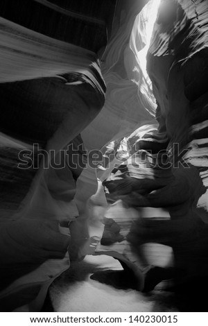 black and white Antelope canyon, Lake Powell, Page - stock photo