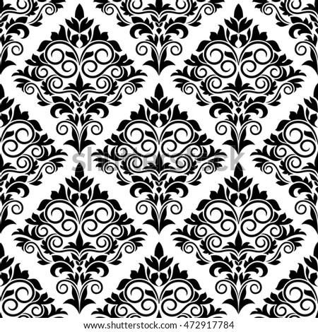 Black white arabesque design scrolls leaves stock for Arabesque style decoration