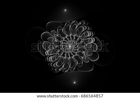 Black and white art abstract fractal background flower may be used for web design