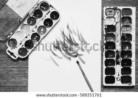 Black and white art photography monochrome artistic squirrel brushes tubes of oil paints and