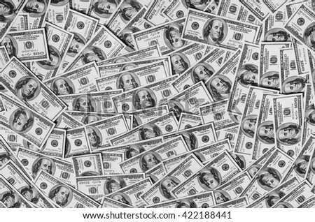 black and white art photography monochrome, background of hundred dollar bills, grayscale, money baclground, grayscale  - stock photo