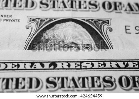 black and white art photography monochrome, portrait of the first president of the United States, the US founding father George Washington on the one dollar bill, background of the money - stock photo