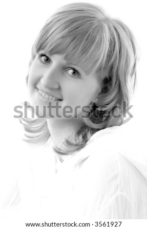 black and white art portrait of young beautiful woman with fair hair and makeup, isolated on white - stock photo