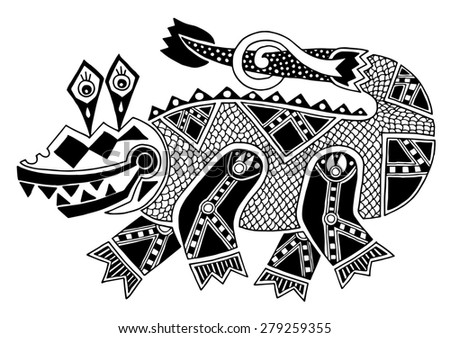 black and white authentic original decorative drawing of crocodile,  raster version on white background - stock photo