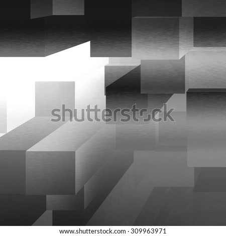 black and white background 3d cubes pattern - stock photo