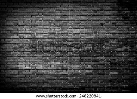 Black and white Background of brick wall - stock photo