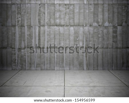 Black and white background of brick wall and stone floor