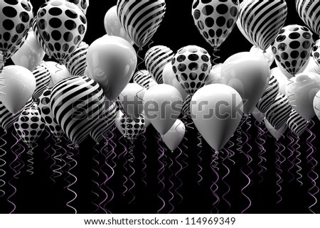 black and white balloons background - stock photo