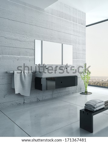 Black and white bathroom furniture with concrete wall - stock photo