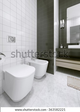 Black and white bathroom idea. 3D render