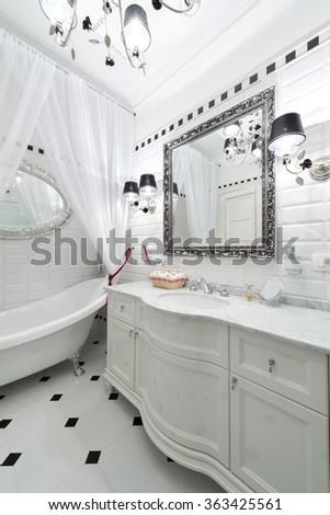 Black and white Bathroom interior - stock photo